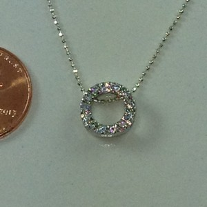 "D9088 - 18"" RHODIUM COVERED STERLING SILVER CHAIN WITH CUBIC ZIR"
