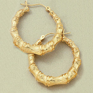 Puffed Large Bamboo Earrings