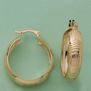 Broad Patterned Hoop Earrings