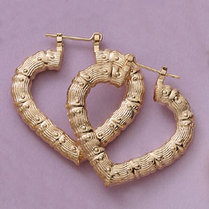 Heart Shape 35MM Bamboo Earrings