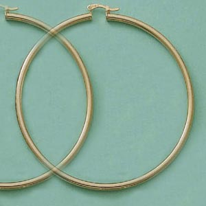 75mm Euro Hoop Tubular Earrings