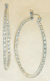 2.40 CARAT TW CZ STERLING SILVER HOOPS at Sunshine Jewelry