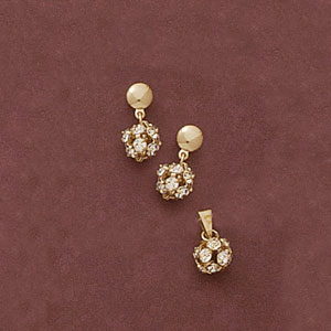 Round Ball CZ Pendant And Earring Set