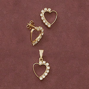 Heart CZ Pendant And Earring Set