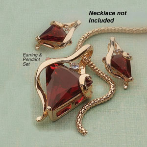 Contemporary Siam Red Triangle Stone Earring And Pendant Set