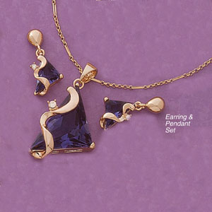 Contemporary Deep Purple Triangle Stone Earring And Pendant Set