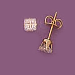 4Mm Square Cz Post Earrings