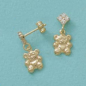 Dangling Teddy Bear Earrings