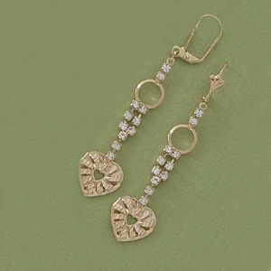Dangling CZ & Hearts Earrings