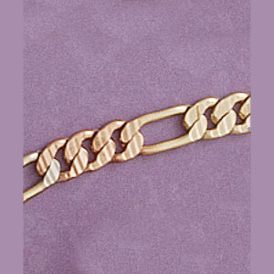 Tricolor Etched Figaro Bracelet / Necklace