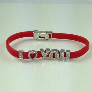 "7.5"" STERLING SILVER RED RUBBER 'I LOVE YOU' BRACELET"