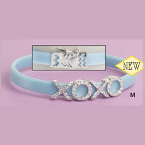 STERLING SILVER TURQUOISE RUBBER CZ 'X/O' BRACELET