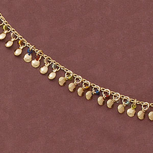 Multicolor Gold Ball Rainbow Anklet