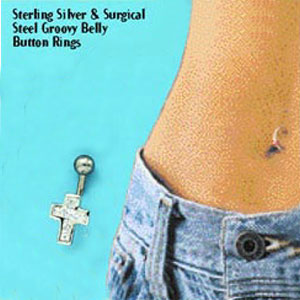 SS & SURGICAL STEEL CZ CROSS BELLY RING