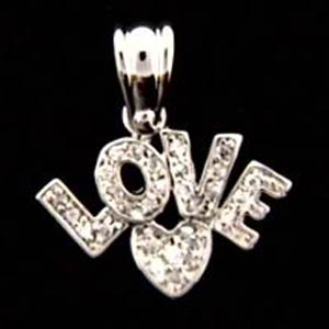 Sterling Silver CZ 'Love' Heart Charm