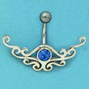 SS & SURGICAL STEEL BLUE STN BELLY RING