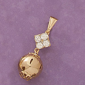 CZ Accent Ball Drop Pendant