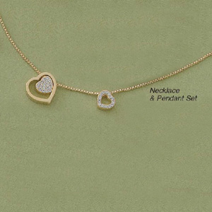 Dual Heart Sliding Pendant and Chain