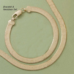 "Hudini Herringbone 7.5"" Bracelet & 20"" Necklace Set"