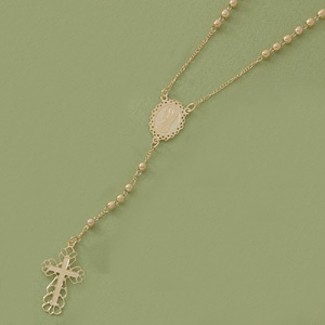 Rosary with Filigree Cross & Ball Accents