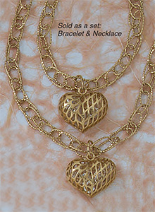 Necklace & Bracelet Filigree Heart Set