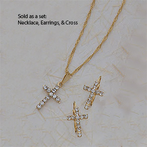 Set of Cross, Necklance and Earrings