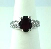 DR183 - SS OVAL RUBY SOLITAIRE RING (ONLY #7)