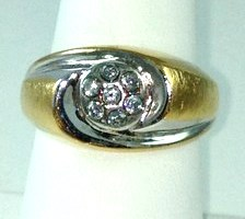 DR177 - TWO-TONE CUBIC ZIRCONIA SWIRL RING (#10 ONLY)