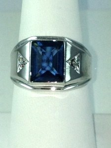 DR187 - SS SAPPHIRE & CZ RING (ONLY #10)