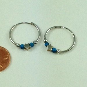 DE051 - STERLING SILVER TURQUOISE ENDLESS HOOP EARRINGS