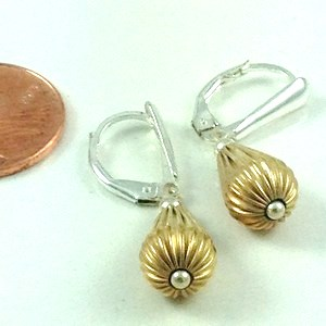 TWO TONE STERLING SILVER CORRUGATED FRENCH-BACK EARRINGS