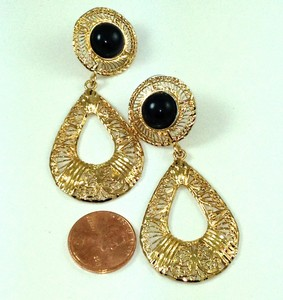 DE213 - FILIGREE DANGLING ONYX TEARDROP EARRINGS