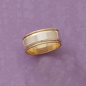 Two Tone Wider Band Ring