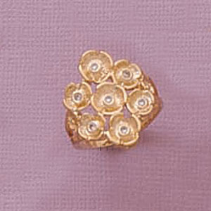 7-Cubic Ziconia Flower Ring