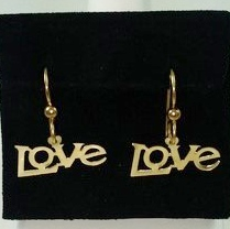 "DE187 - LIGHT AND DAINTY ""LOVE"" DANGLE EARRINGS"