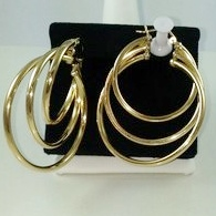 DE151 - TRIPLE HOOP TUBULAR EARRINGS