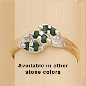 Two Tone Ring with 6-2MM Austrian Crystal Stones