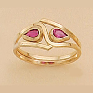 Double Siam Red Pear-Shaped Stone Ring