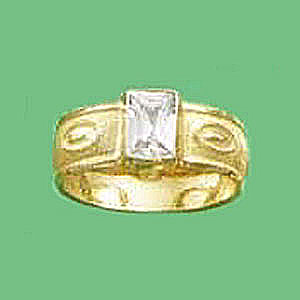 1.75 CARAT CZ SATIN EMERALD CUT RING